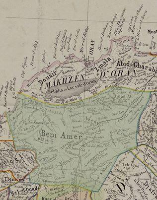 خريطة توضح مكان قبيلة بني عامر