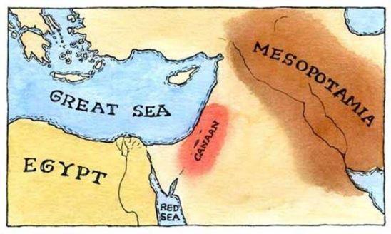بلاد ما بين النهرين (العراق) ،  وبلاد كنعان ( لبنان وفلسطين)