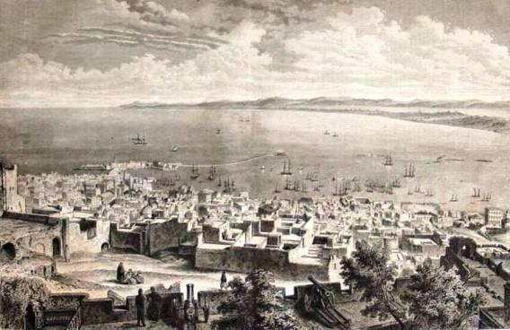 القصبة في عهد الأتراك La médina d'Alger dite la Casbah vue de Dar Essoultane au début du 19 ème siècle, autrement dit le palais royal, de El-Bab El-Jedid.