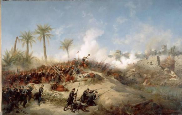 الزواف في الخطوط الأولى لإحتلال واحة الزعاطشة بالجنوب الجزائري Prise d'assaut de Zaatcha par le colonel Canrobert, le 26 novembre 1849. Jean-Adolphe BEAUCE