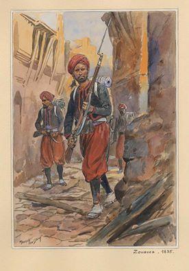 لوحة رُسمت عام 1835 لميليشيات زوافية تجول العاصمة بحثا عن الرافضين للتواجد الفرنسي للنّيل منهم