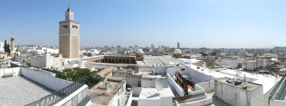 Vue sur la médina de Tunis, ville fondé par le général Ghassanide  Omeyyade Hassan ibn Numan al-Ghassani (puisse Allah lui faire miséricorde) lors de la chute de Carthage en 698