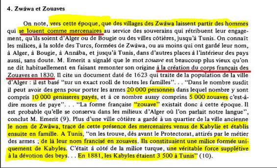 عدد الزوافا الزواوا ومساعدتهم الفرنسيين في احتلال المدن الجزائرية والتونسية