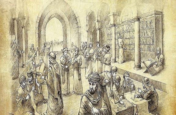 al-Bayt al-Hikma, dans la capitale Abbasside qui marque l'apogée de l'étude de l'histoire