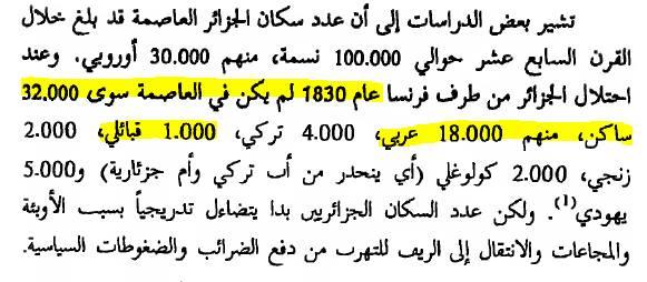 سكان العاصمةالمصدر  الدكتور عمار بوحوش التاريخ السياسي للجزائر طبعة 1996صفحة 77