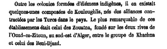 وثيقة فرنسية تتحدث عن سكان مدينة زواتنة ( وادي الزيتون ، شرق ولاية بومرداس ) والذين كانوا جُلهم من الكراغلة