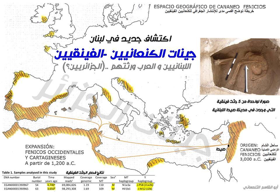 جينات الفينقيين الكنعانيين..وعلاقتها بجينات العرب والجزائريين ! Phenicians DNA study / ترجمة : جيناتالجزائر