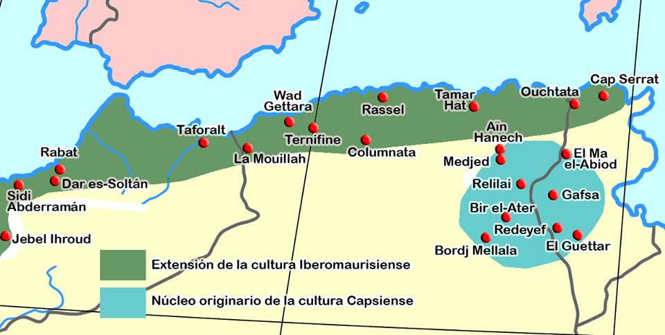 أماكن انتشار الثقافة الايبورومسية و الثقافة العاترية